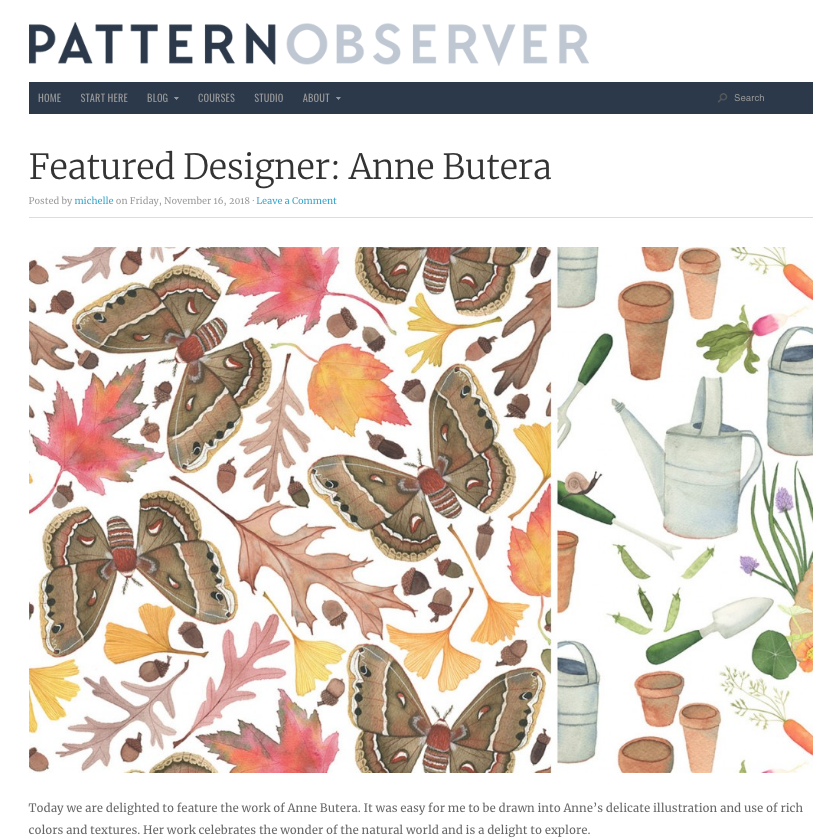 Anne Butera was a Featured Designer on the Pattern Observer Website