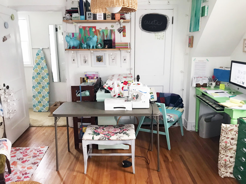 I set up my sewing machine on a folding table in my studio