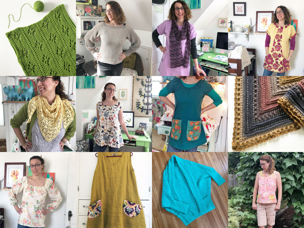 Some of the clothes and accessories I sewed, embellished and crocheted in 2018