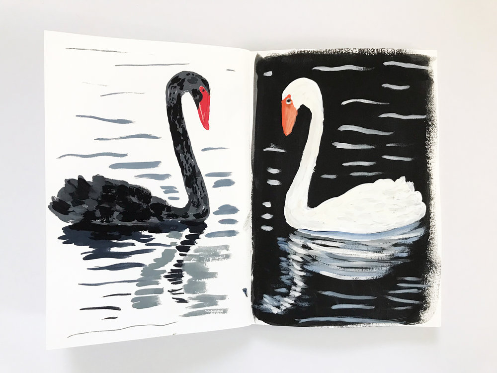 a page from the second collaborative sketchbook by Anne Butera and Dana Barbieri