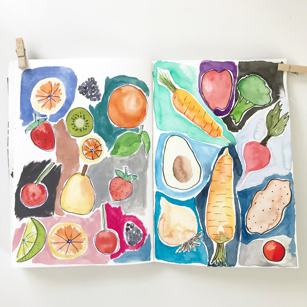 Vegetables on My Page (on the Right) of My Second Collaborative Sketchbook with Dana Barbieri (her fruits are on the left)