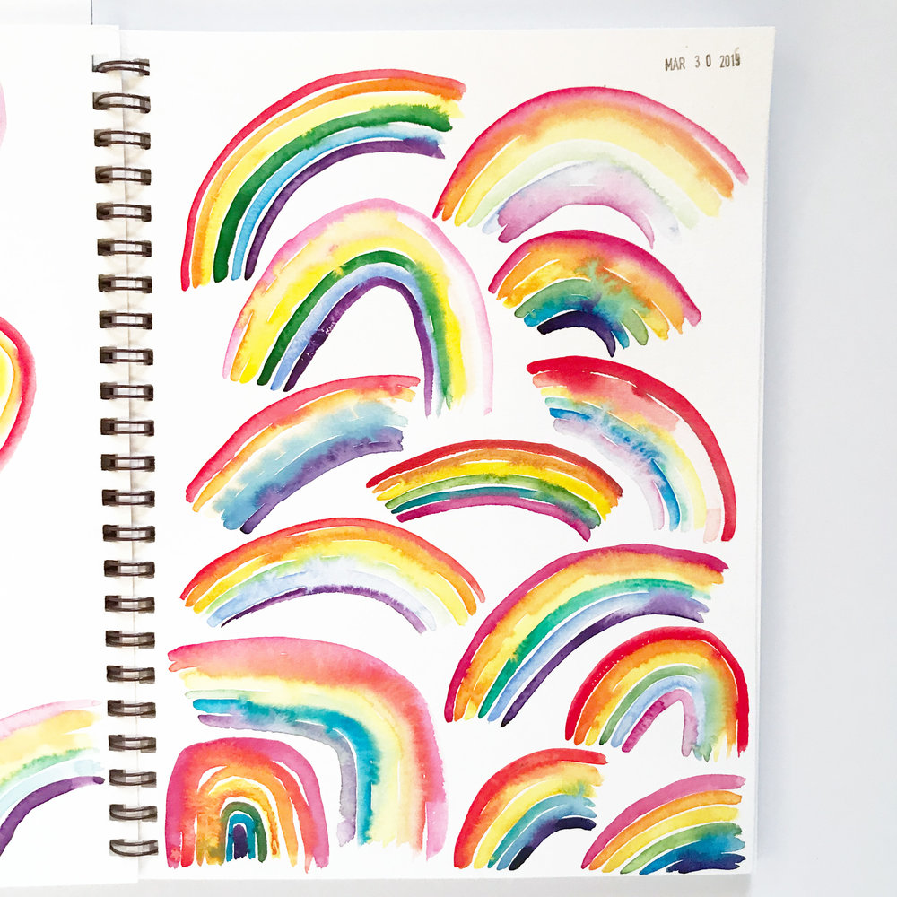 Watercolor Rainbows in My Sketchbook were a Joy to Paint
