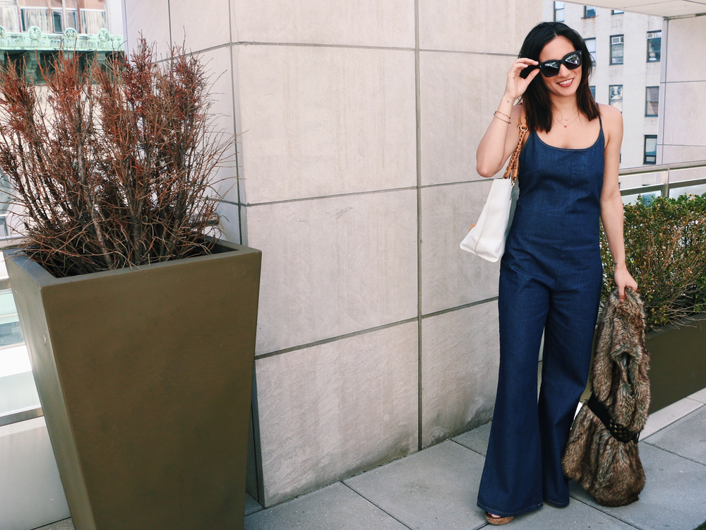 A Glam Festival Look with the Crossback Denim Jumpsuit
