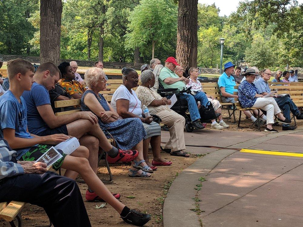 Outdoor worship at Minnehaha Falls