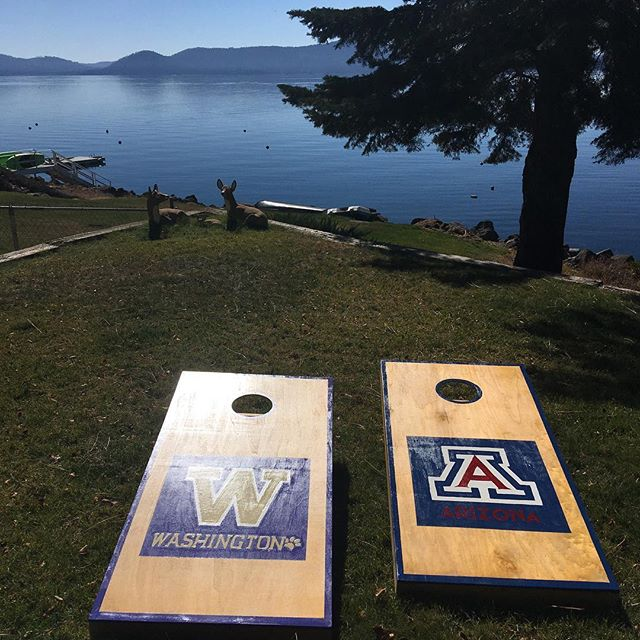 Just got done painting these for our fantastic neighbors and friends. Who's up for a Sunday game of cornhole? - #cornhole #cornholeboards #cornholeboard #universityofarizona #arizona #washington #universityofwashington #uw #lakealmanor #fallgames #fall #lakeview #games #playoutside #schoolspirit #schoolpride #collegegrad