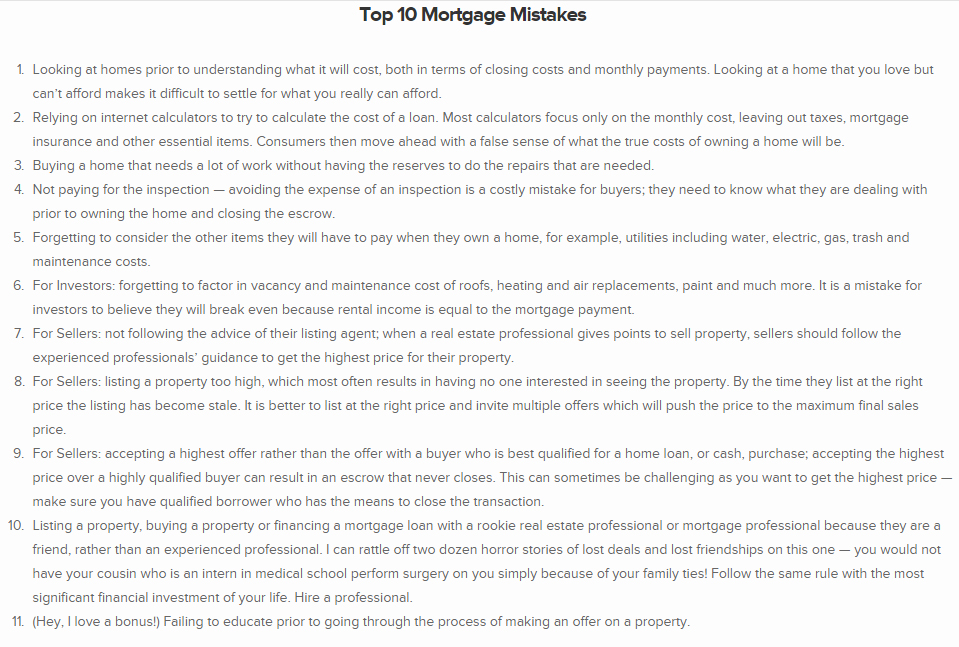 Top 10 Mortgage Mistakes
