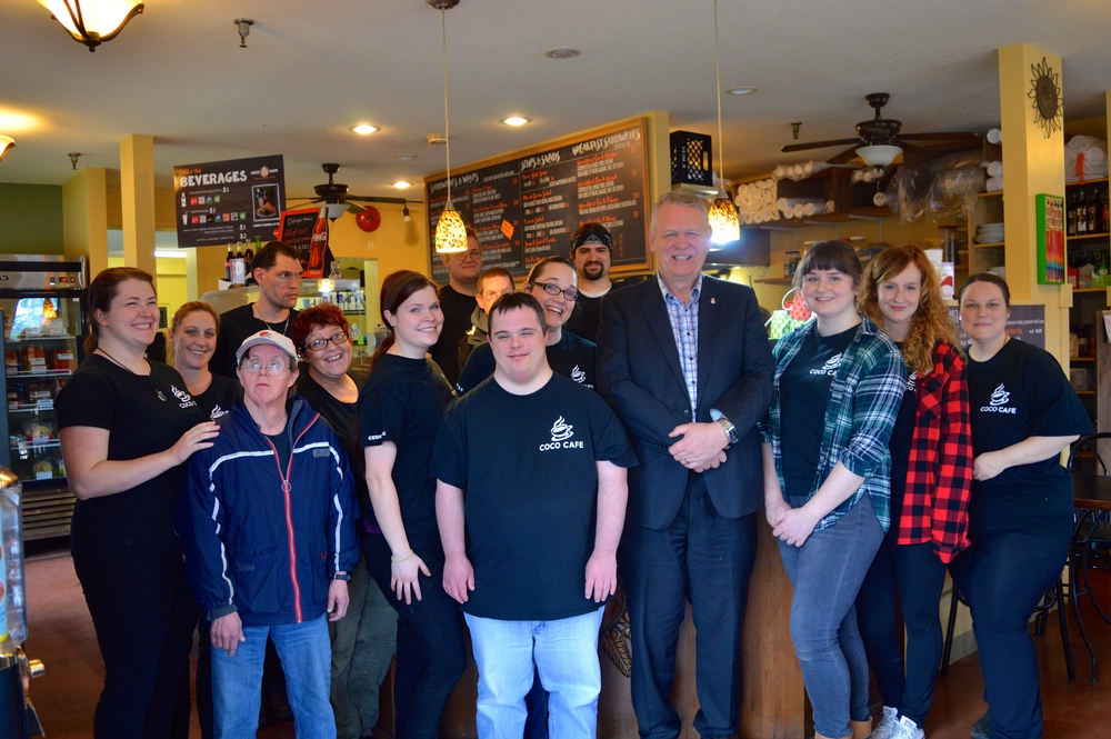 Some of COCO Cafe's team with Mayor Bill McKay.
