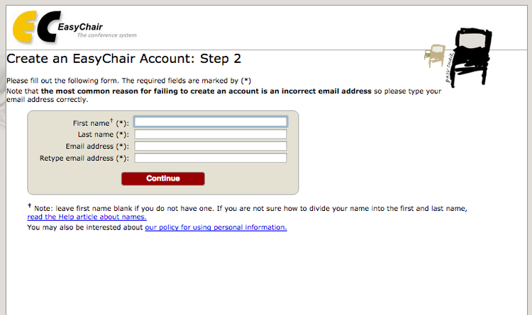 Step 2 for creating a new EasyChair account