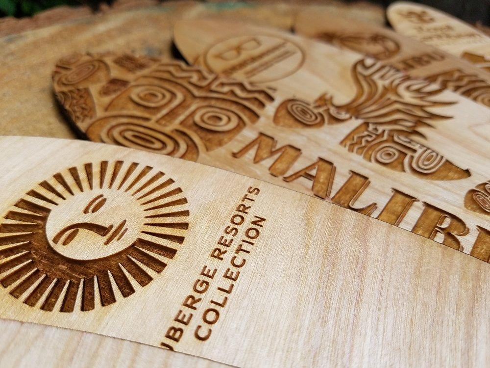 Closeup Mini Wooden Surfboards