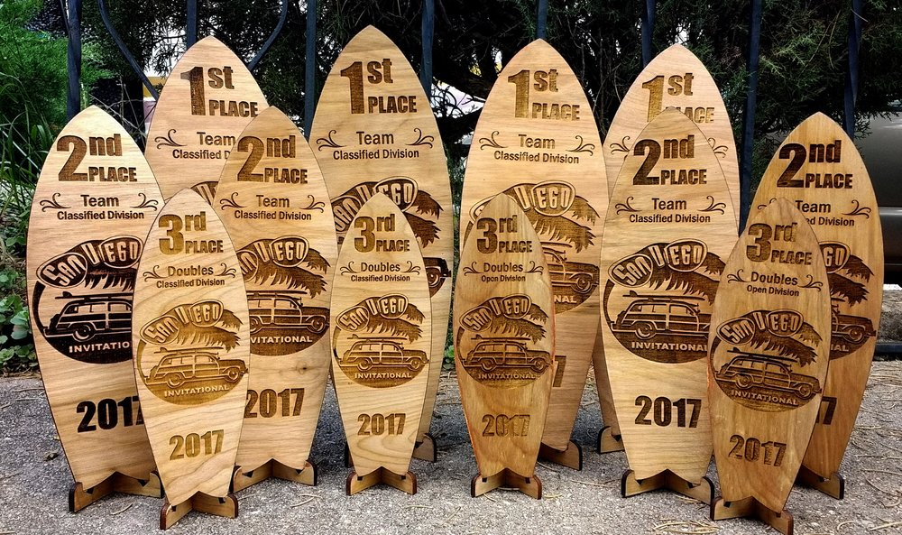 Wooden Surfboard Tropies