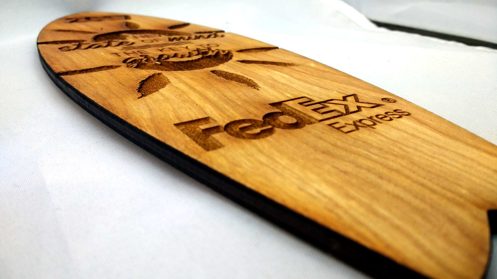 Wooden FedEx Surfboard
