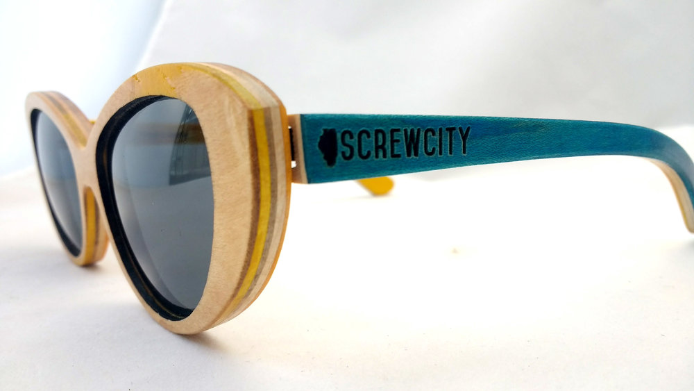 Blue Screw City SK8Glasses™ with logo