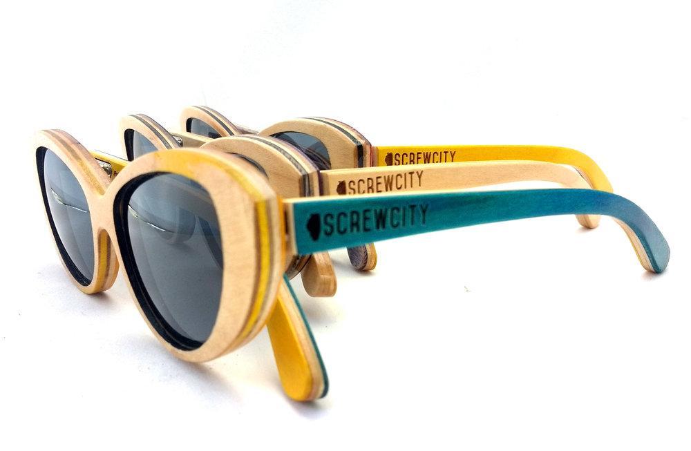 Yellow, Blue and Natural Mariana SK8Glasses™ with logos