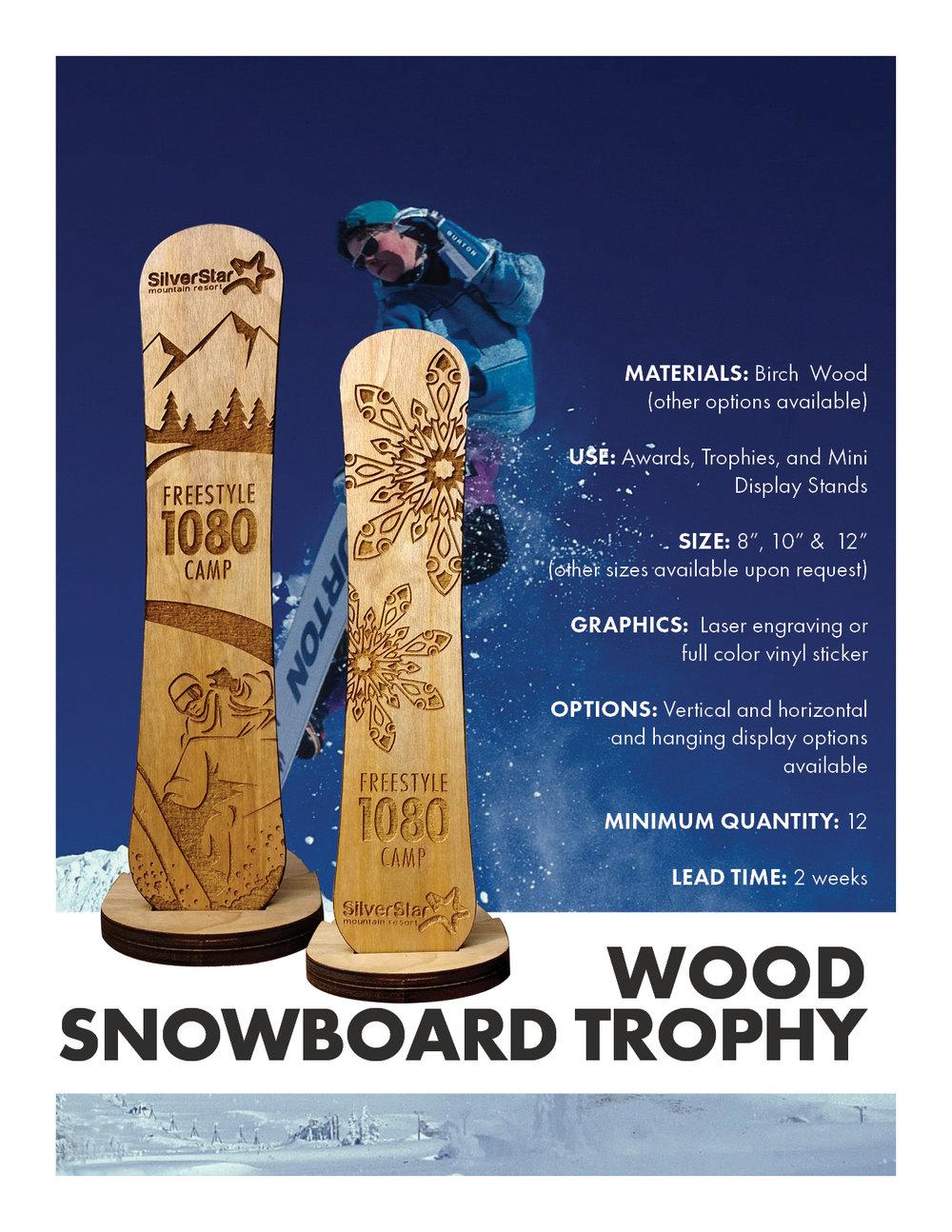 Wooden Snowboard Trophy