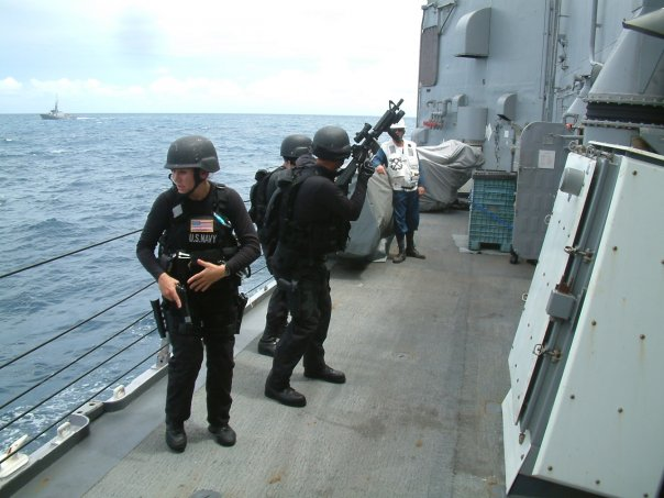 As part of my time in the Navy- I was the lead of our boarding team - VBSS. Here is us praticing.