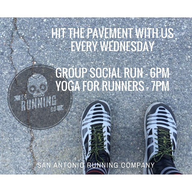 Hit the pavement with us every Wednesday at 6pm and stay for Yoga for Runners at 7pm.  We'll be running around the Tower of the Americas today !  #runSA #run #yoga #yogaSA