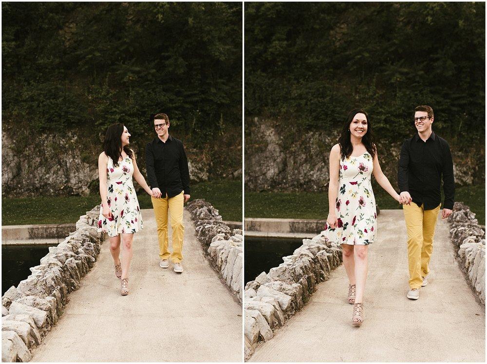 huntington-sunken-gardents-engagement-standing-on-bridge-engagement-photo-wedding-photographer-indiana