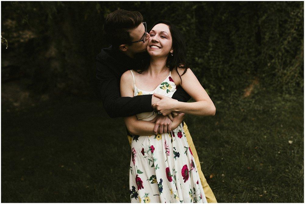 huntington-sunken-gardens-engagement-photo-dark-moody-embrace-indiana-wedding-photographer
