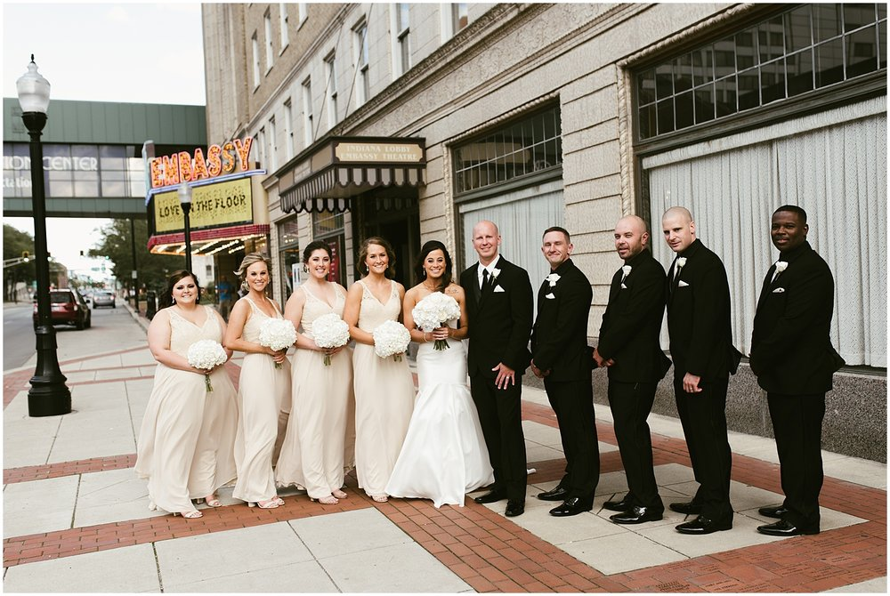 bridal-party-embassy-theatre-wedding-marquee-sign-fort-wayne-indiana