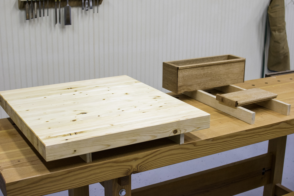 Wood top and tool trays after one coat of Tried and True