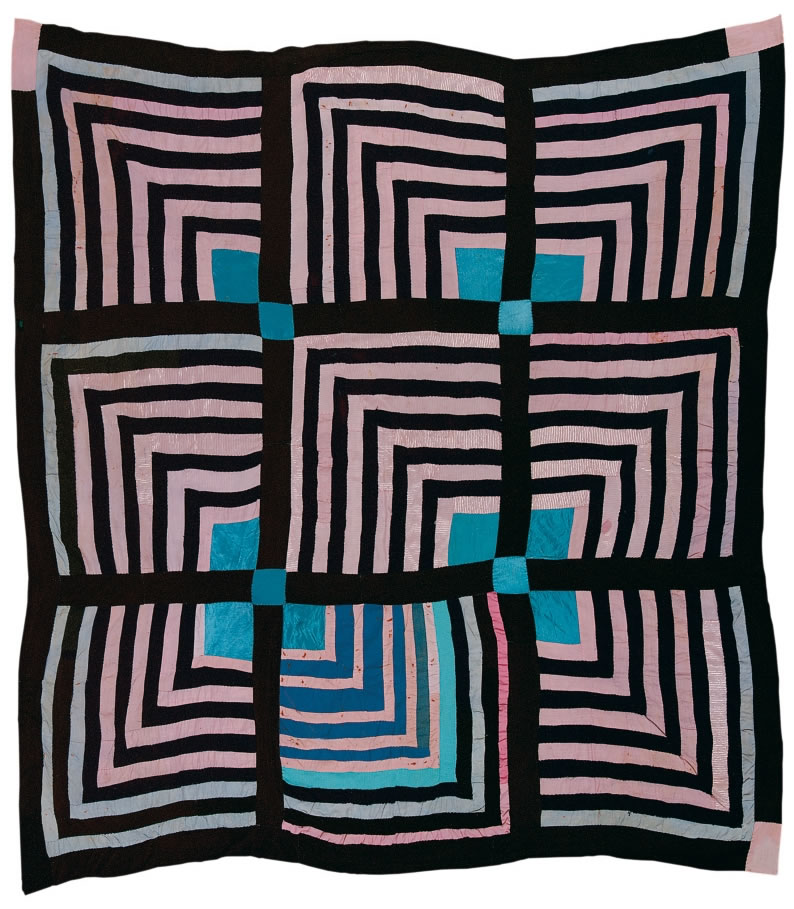 "Sue Willie Seltzer, born 1922, ""Housetop"" -- nine-block ""Half-Logcabin"" variation, ca 1955. Cotton and sythetic blends, 80 x 76"""