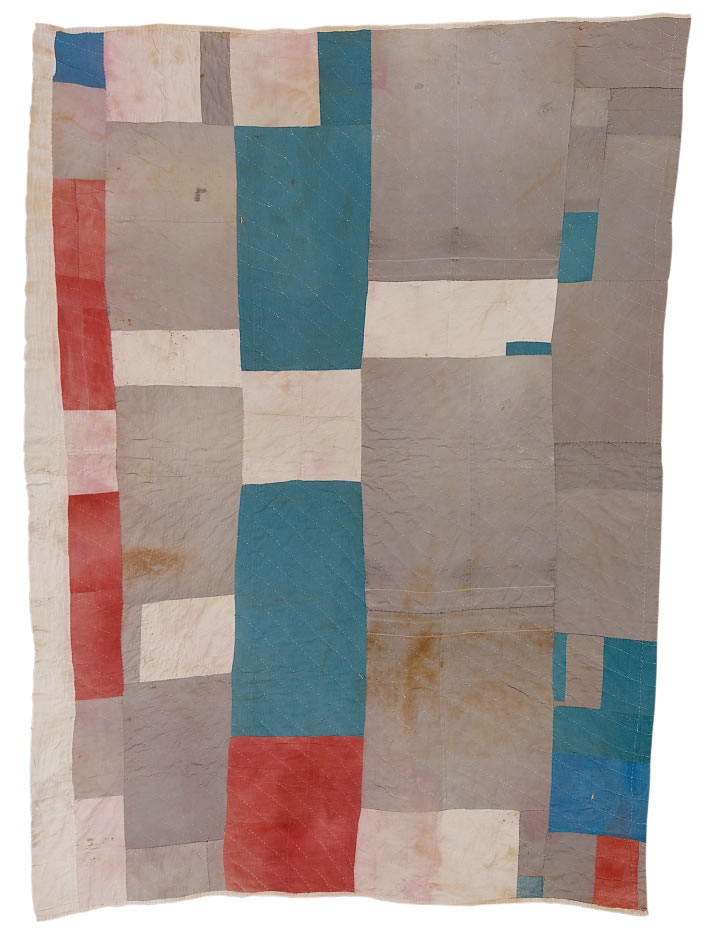 "Missouri Pettway (1902-1981) , Blocks and strips work-clothes quilt, 1942, Cotton, corduroy, cotton sacking material, 90"" x 69"""