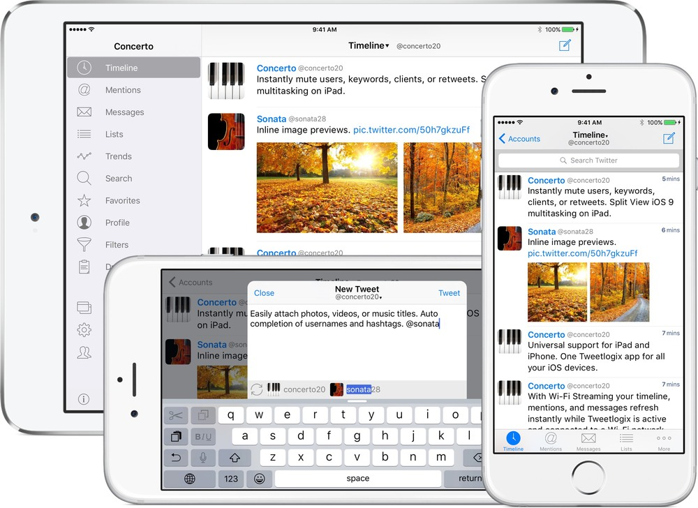 Tweetlogix on iPhone 6, iPhone 6 Plus, and iPad