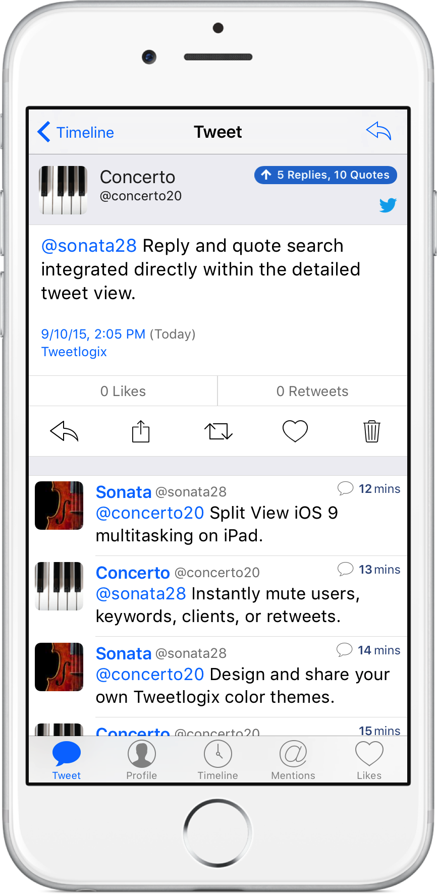 Quote Search in Detailed Tweet View