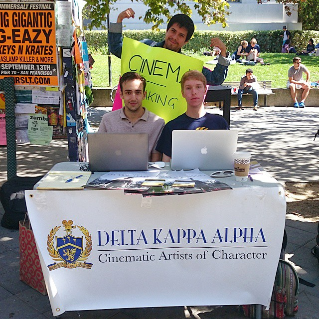 Spreading DKA love on Sproul. Here's to a great semester! #dka #dkaeta #dekas #flyering #cinema #cal