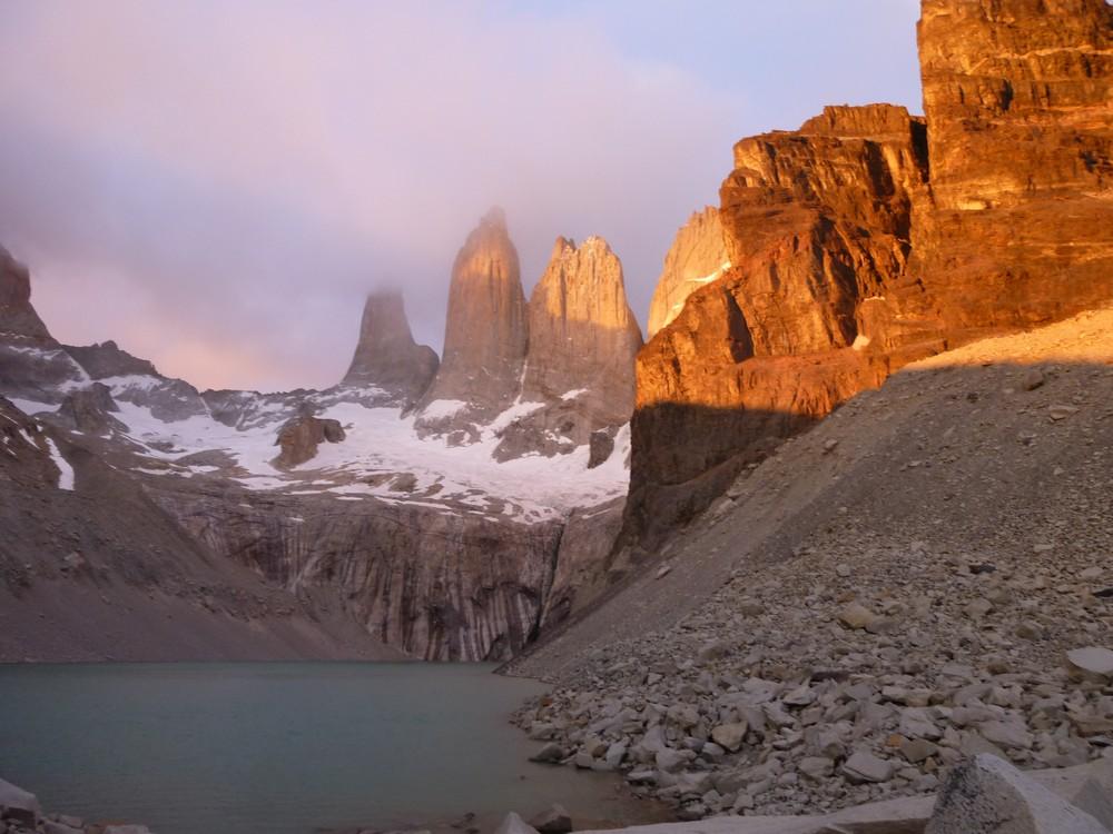 Cerro Torres as the sun rose