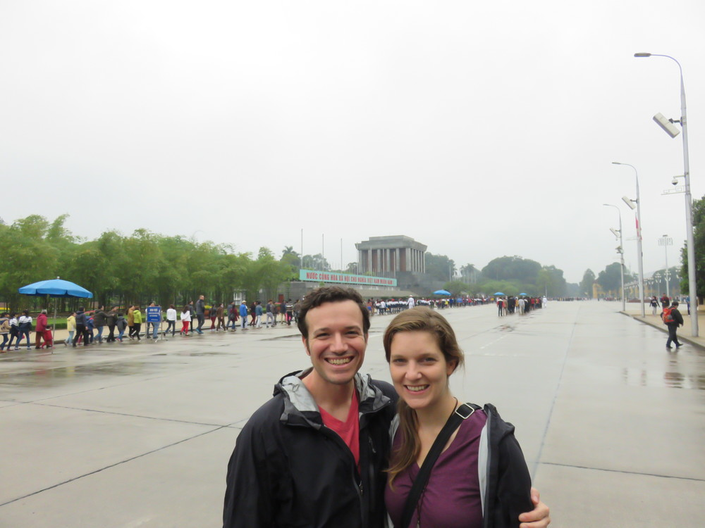 Matching rain jackets in front of Ho Chi Minh's Mausoleum... check out the unending line behind us....it stretches all the way to those trees, and well past where we snapped this. People love Uncle Ho!