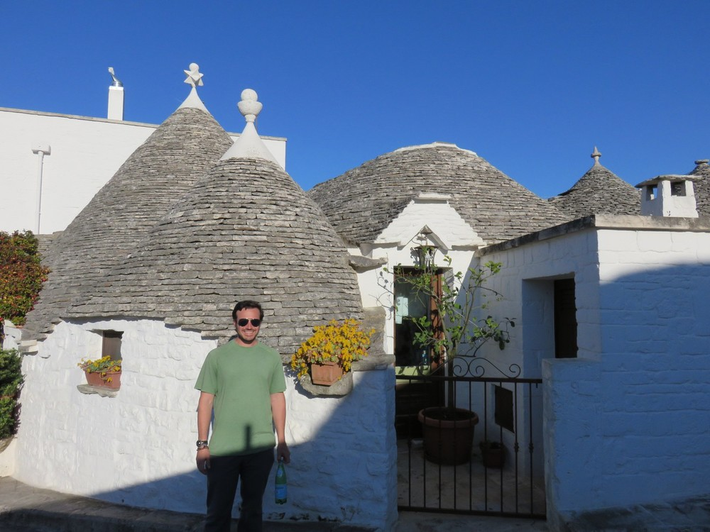 Chris in front of Trulli in Alberobello