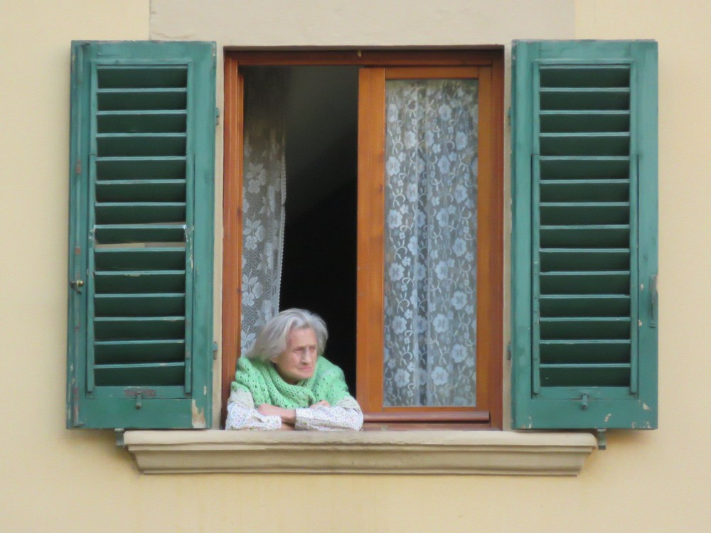 Florentine Grandma, keeping a neighborhood watch from her perch