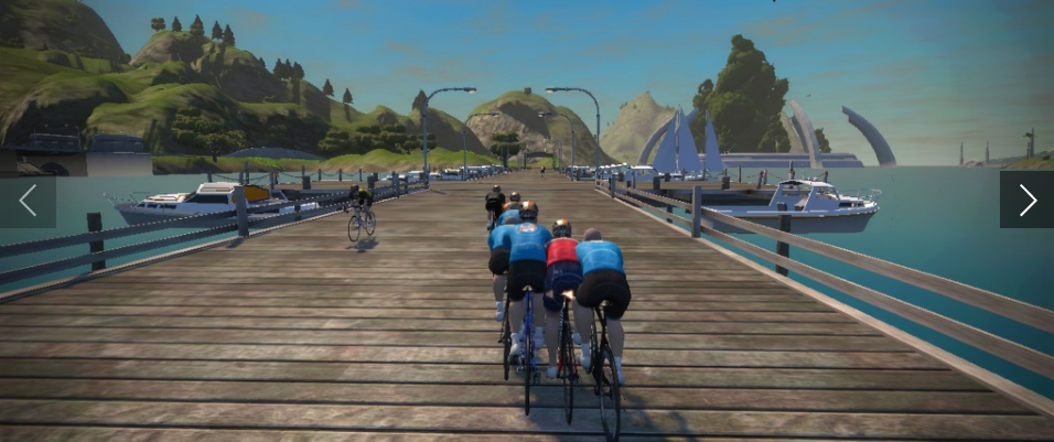 ACTUAL shot of Cody Sovis on Zwift (in the orange).