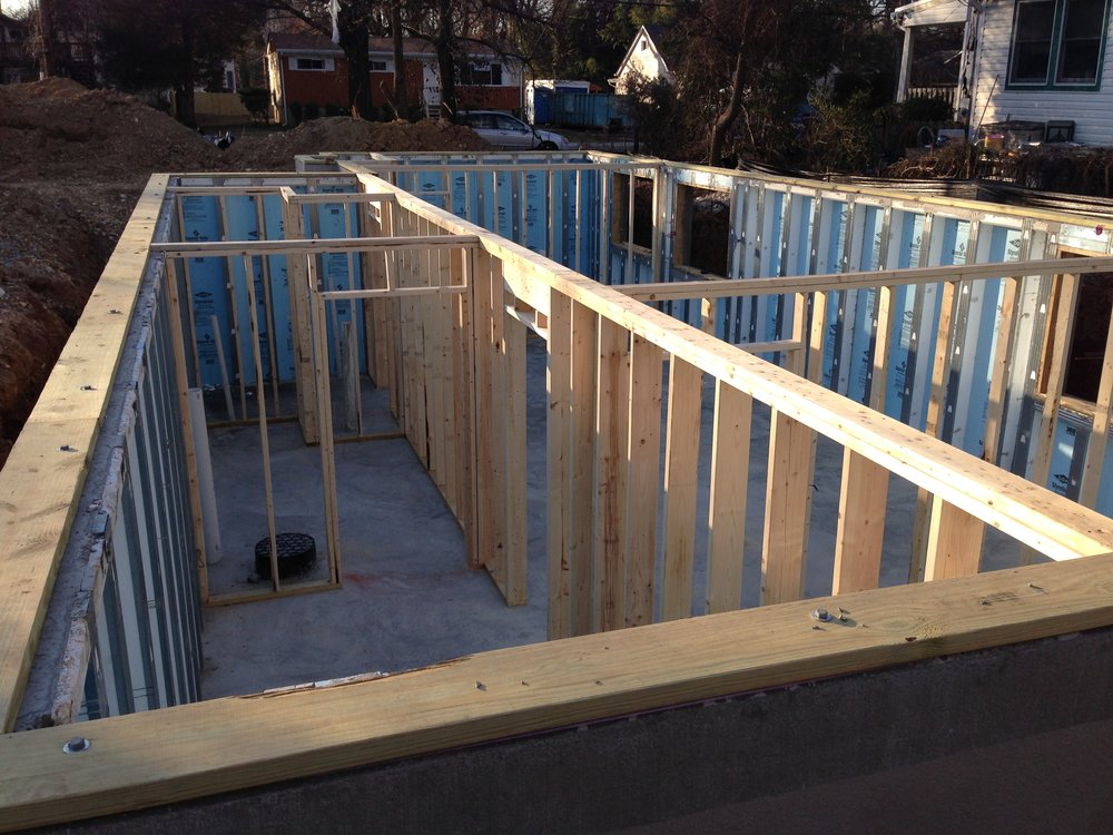 8:00 - Basement framing was completed yesterday with 15 minutes to spare. Looks good. Lots of storage space and big windows! The wall down the middle will hold half of the modular units. I hope it stays strong!