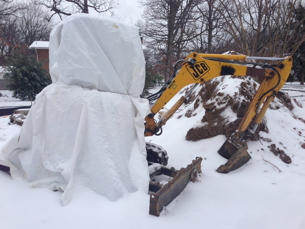 Even excavator have stay warm.