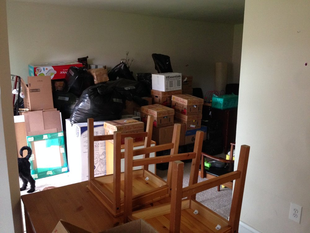 Almost all the remaining stuff in our house. We used so many boxes and garbage bags. The agony of money.