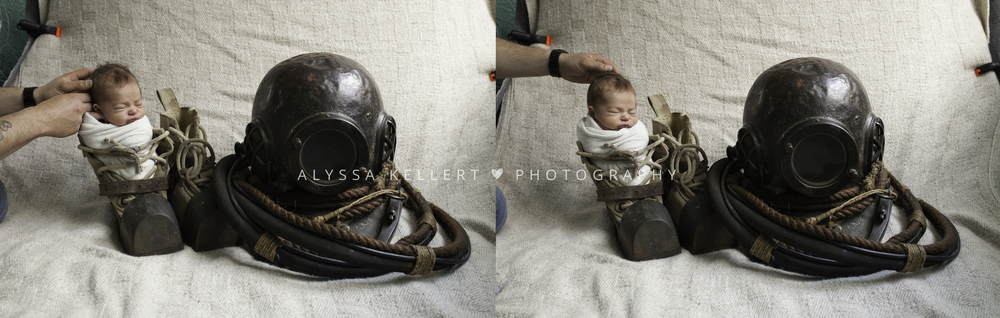 newborn-photography-composite-diving-helmet-coquitlam-boots-baby-in-boot