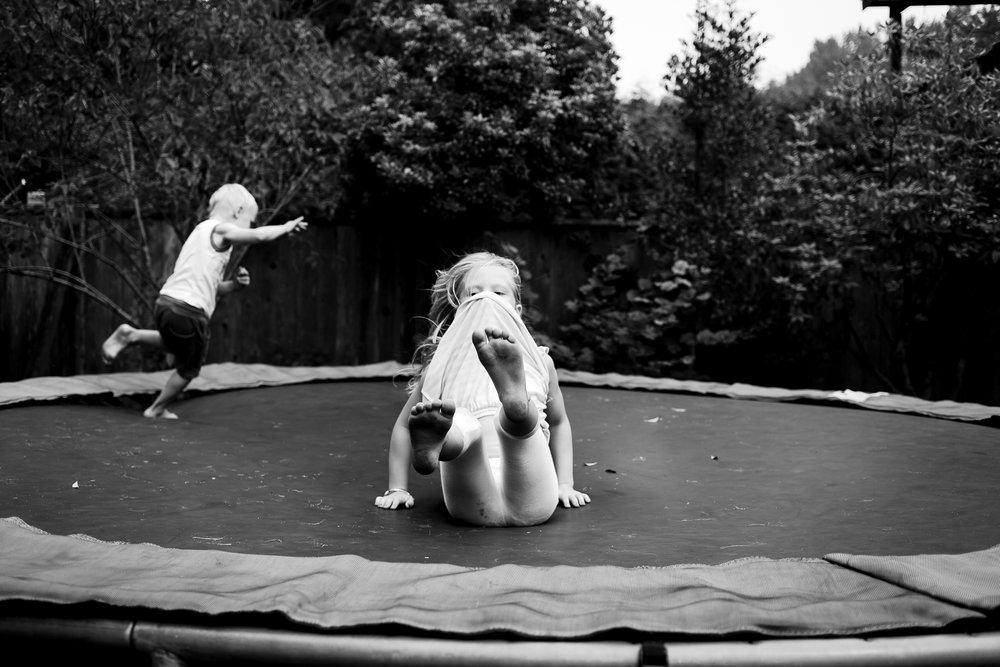 kids on trampoline landing