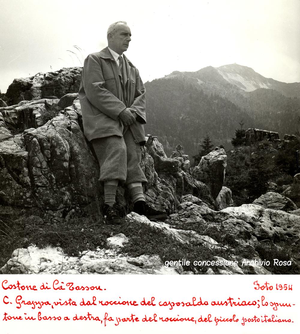 Ermes Aurelio Rosa torna sul luogo dei combattimenti aCà Tasson nel 1954