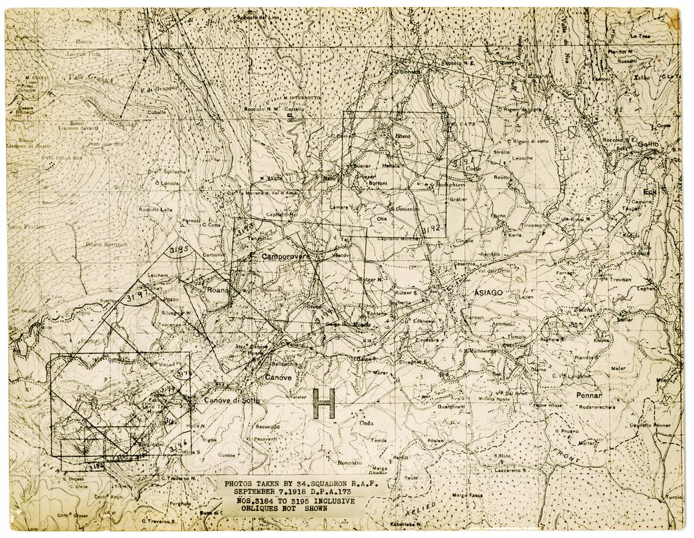 Mappa dell'Altopiano di Asiago realizzata dall'aviazione militare britannica