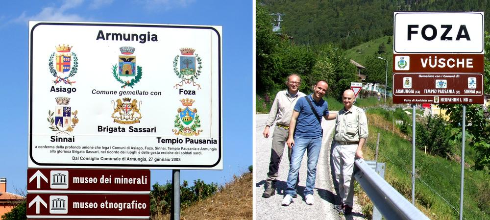 """A sinistra: la cartellonistica di Armungia in memoria della Brigata """"Sassari"""";a destra: Enrico Caneva, Alberto Cabboi,Ruggero Dal Molin sull'Altopiano di Asiago"""