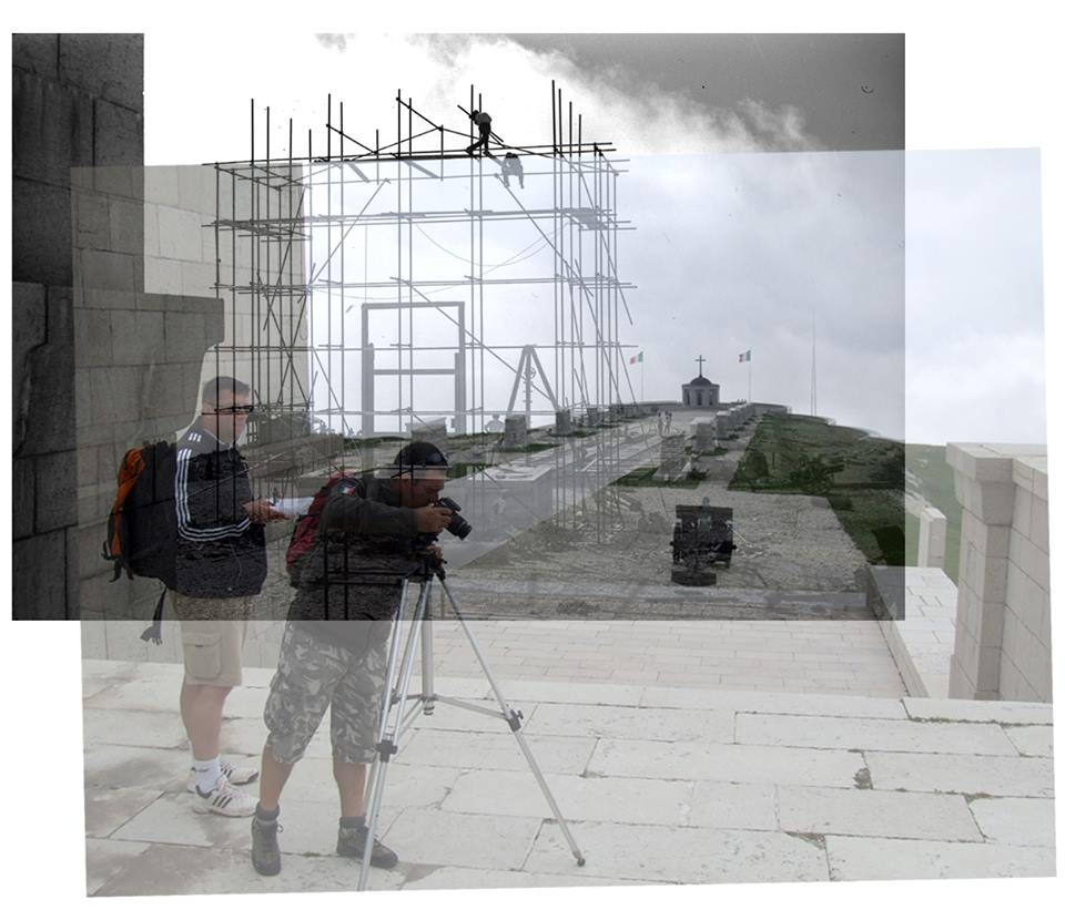 """Il Team ASDM (Ruggero Dal Molin, Stefano Aluisini e Natalino Meneghin) al Sacrario del Grappa per le prime riprese con fotografie sferiche dell'applicazione web """"Dentro la memoria"""""""