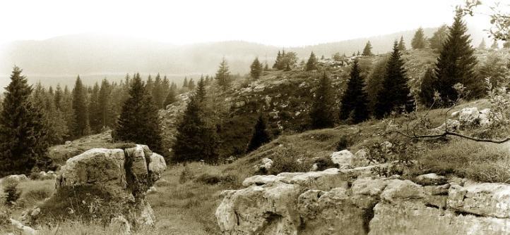 Vista delle linee austriache dove irruppero i fanti della Sassari, in una foto degli anni '80 – Foto R. Dal Molin