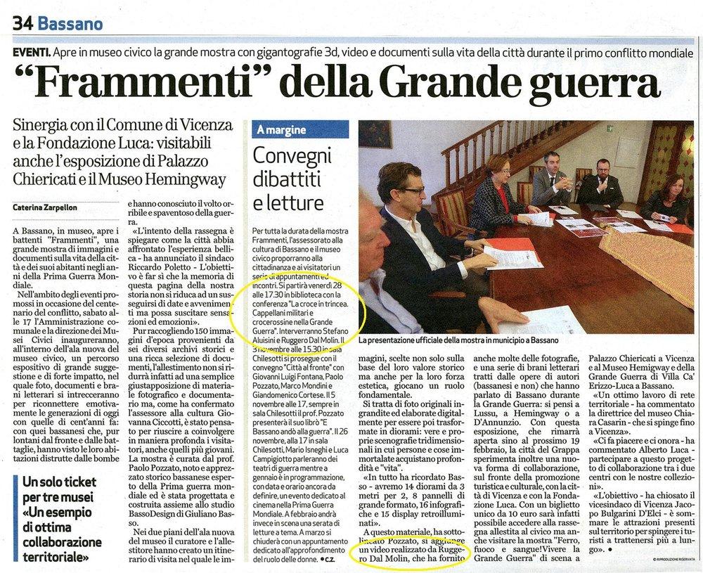 cronaca di Bassano del Giornale di Vicenza 25 10 2016.JPG