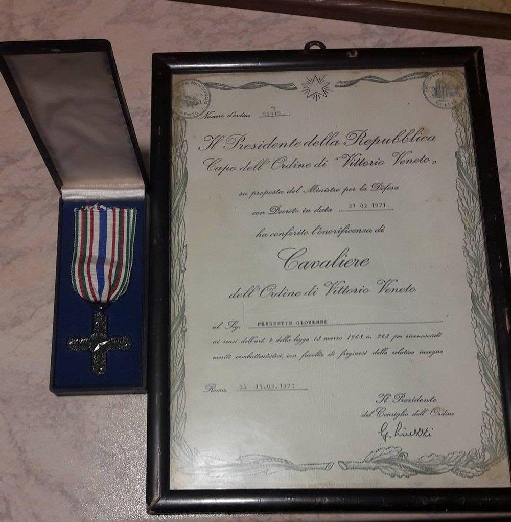 Il Diploma di Cavaliere di Vittorio Veneto di G.Piasentin