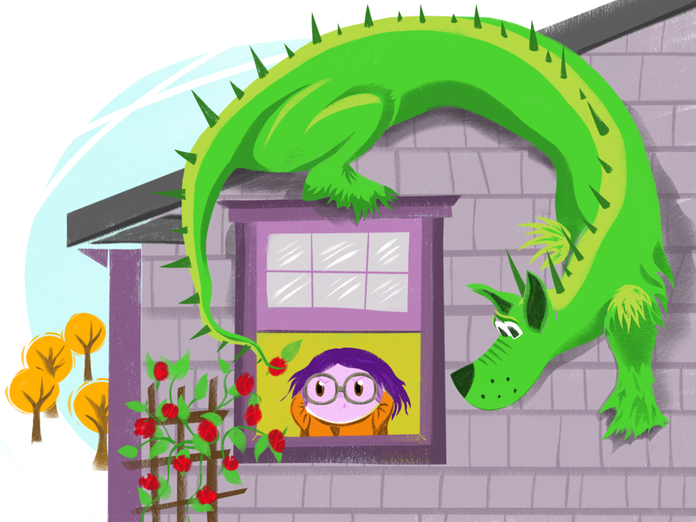 dragon by the house.png