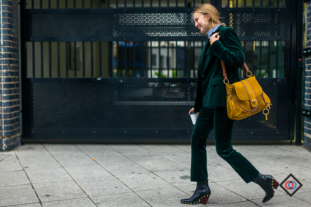 Deep green FRAME suit and CHLOE bag on ALEXANDRA CARL