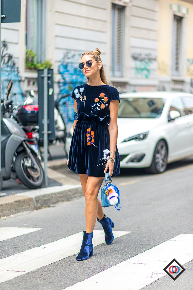 CHIARA FERRAGNI wearing a FENDI dress and GIANVITO ROSSI boots