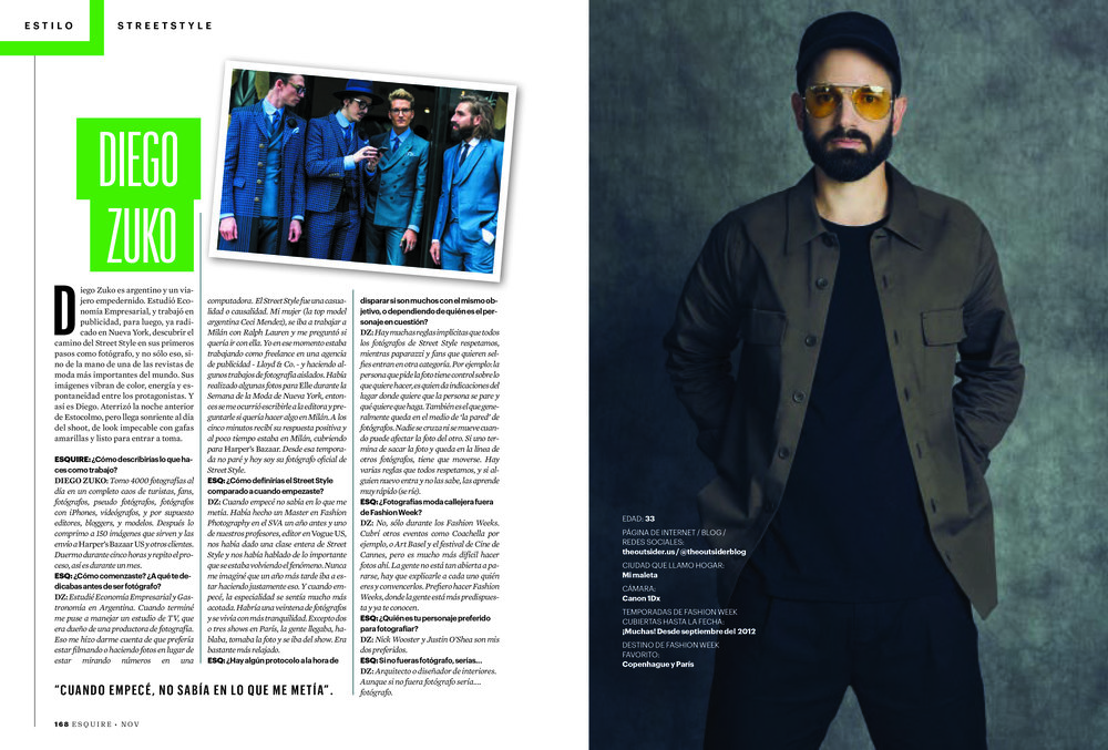 Diego Zuko's interview for Esquire Mexico -
